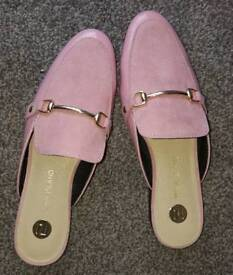 River Island rose pink mules, size 3, new.