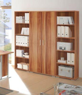 Heimbüro Aktenschrank Regale Büroset OFFICE LINE Büroeinrichtung Walnuss Dekor - Büro Walnuss Schrank