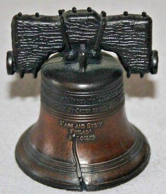 LIBERTY BELL CAST METAL BRONZE Bell Rings Vintage Souvenir Philadelphia PA