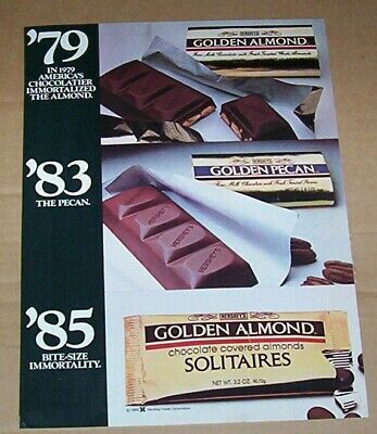 1985 print ad - Hershey Foods Golden Almond pecan Chocolate candy (Almond Pecan Candy)