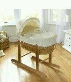 Kinder valley Cream Dimple with natural Wicker moses basket. Only. All brand new in sealed packs.