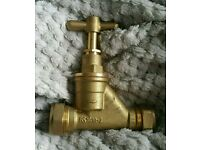 25mm x 22mm Brass Compression Stop Tap BS 1010-2 Jet
