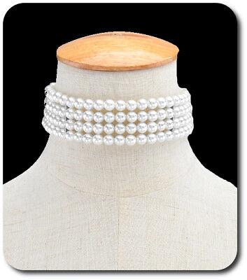 Halsband Halskette Trachten Perlenkette Perlen Band Kropfband Victorian Weiß