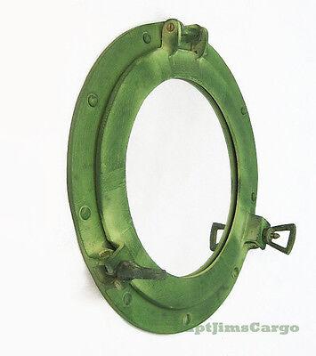"Ship's Porthole Mirror 11"" Aluminum Green Finish Nautical Hanging Wall Decor New"