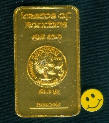 2018 Krewe Of Bacchus ( Gold Bar Shaped - 10gauge ) Mardi Gras Doubloon Token