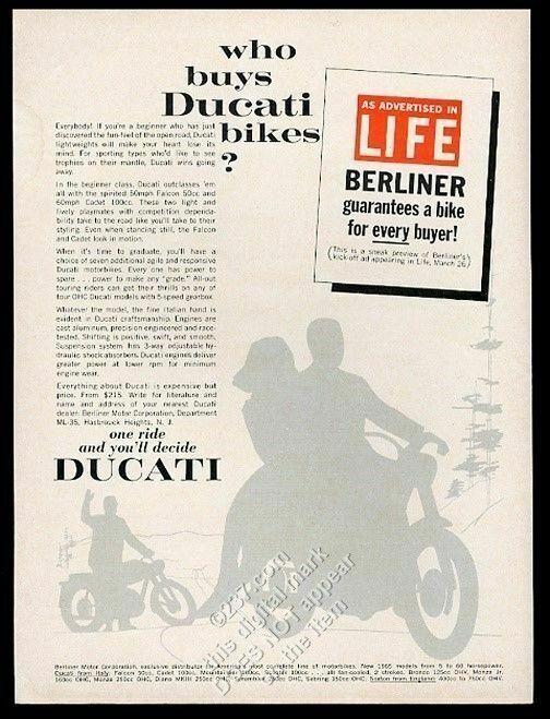 1965 Ducati motorcycle silhouette vintage print ad