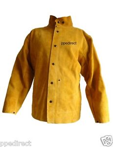 Premium Gold Leather Welders Jacket Heavy Duty - Size L