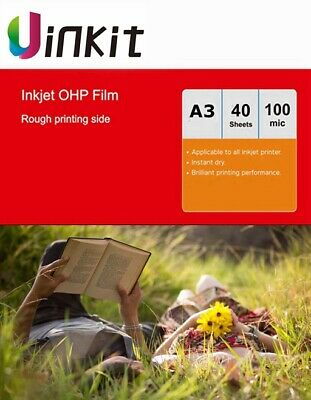 A3 OHP Film Inkjet Only For Overhead Projector - 40 Sheets 420x297mm Uinkit