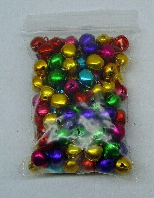 BULK 700 CHRISTMAS JINGLE BELLS Bright COLORS 10-12mm  Drops Beads ~ Aluminum