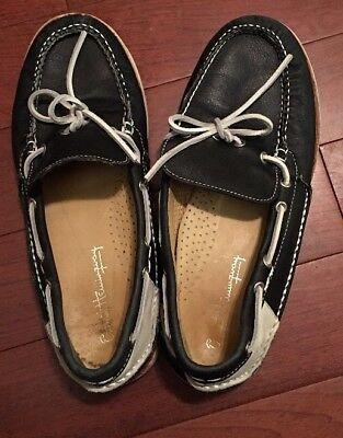 ERNEST HEMINGWAY MEN'S Sz10.0 Fault-ON Leather BOAT SHOES BLUE/WHITE