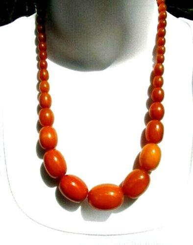 Vintage Butterscotch Bakelite Bead Necklace Hidden Clasp Excellent Condition