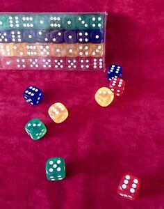 Neu 40x Star Acyrl Würfel Okey Backgammon Knobeln Spielwürfel Zahlenwürfel, Set