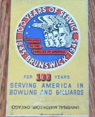 BOWLING BILLIARDS: BRUNSWICK EQUIPMENT (1945 SPORTS MATCHBOOK MATCHCOVER) -F2
