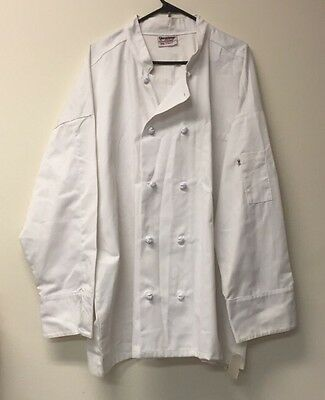 Uncommon Threads 403 10 Cloth Knot Button Uniform Chef Coat Jacket White 3xl New