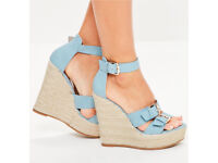 BLUE WEDGEs shoes. Perfect for summer weddings- size 8