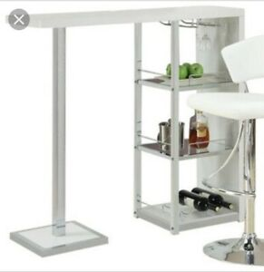 White Chrome Glass Condo Size Bar