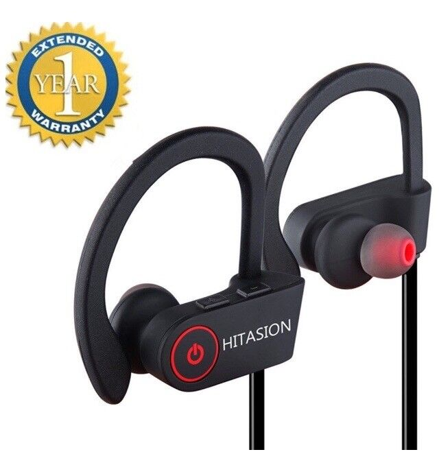 Bluetooth wireless sports/ running headphones earphones in a free pouch NEW in Black