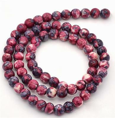 PREMIUM QUALITY OCEAN JADE ROSE PINK ROUND GEMSTONE BEADS 6mm 30 Beads