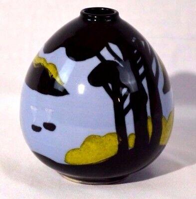 Antique Arts and Crafts Landscape Silhouette Art Pottery Bulbous Vase Hand Desig - Arts Crafts Silhouette