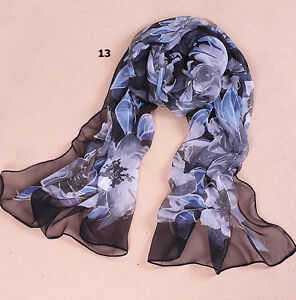 100% SILK FEELING LADIES LONG SHAWL WRAP SCARF