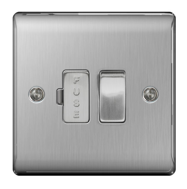 BG Nexus Metal Stainless Steel Switched Fused Spur Satin Nickel - NBS50