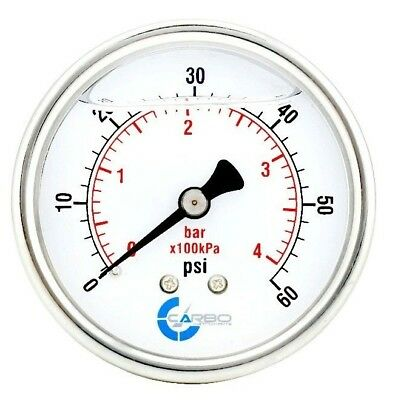 2-12 Pressure Gauge Stainless Steel Case Liquid Filled Back Mnt 0-60 Psi