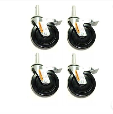 Set Of Four 5 Hard Rubber Scaffold Brake Casters 1316 Round Stem