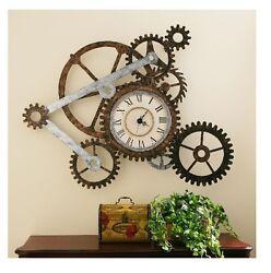 Rustic Wall Clock Vintage Style Unique Decorative Home Office Den Art Sculpture
