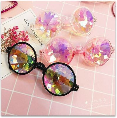 Festival Party Rave Kaleidoscope Rainbow Round Glasses Diffraction Crystal - Rainbow Parties