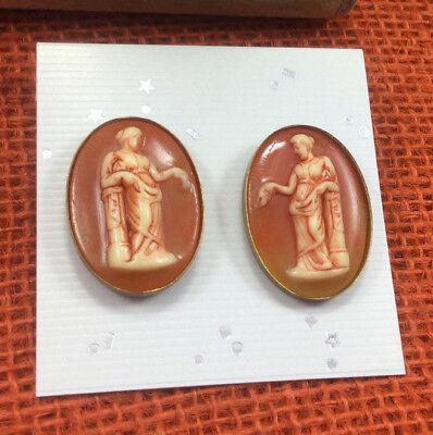 Artisan Earrings Hand Crafted Cameo resin Greek Goddess Oval Brass Pierced Post