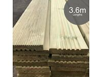 High Quality 145mm wide Garden Decking - 3.6m lengths - Tanalised