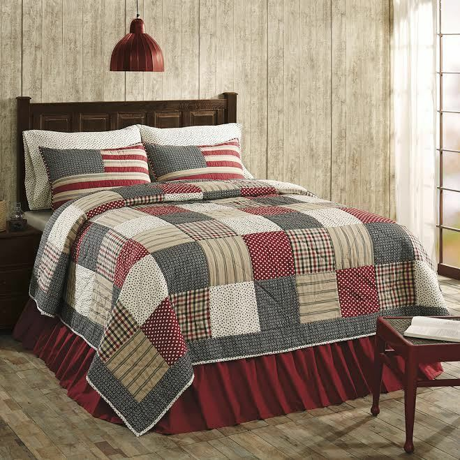 Victory Americana King Size 3 Pc Quilt Set Cotton Patchwork