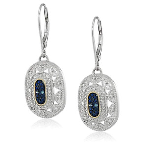 Sterling Silver and 14k Yellow Gold Diamond Art Deco Earrings