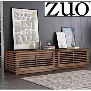 NEW ZUO MODERN LINEA WIDE TV STAND 199052 183859889 MEDIA/ENTERTAINMENT CONSOLE WALNUT