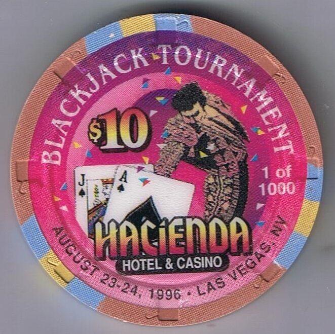 Hacienda Hotel $10.00 Blackjack Tournament Casino Chip Las Vegas Nevada 1996