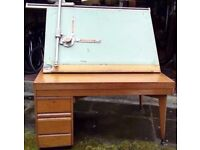 Large Wooden Desk with AO size Drawing Board and Drawers