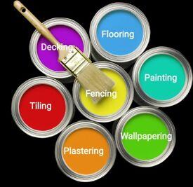 Painting, flooring, tiling, plastering, decking, wallpapering, decorating, building, fencing, etc.