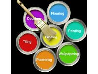 Painting, flooring, tiling, plastering, decking, wallpapering, decorating, building, fencing, etc.