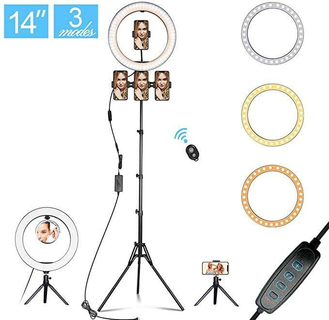 14.3″ LED SELFIE RING LIGHT WITH TRIPOD STAND&PHONE HOLDER&MAKEUP MIRROR FOR LIV Cameras & Photo