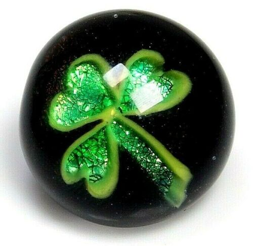 Antique Vtg Button Glass Paperweight Glitter SHAMROCK Charmstring Signed