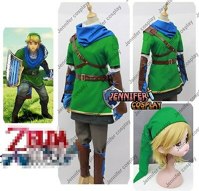 Legend of Zelda Hyrule Warriors Link Cosplay Costume With Scarf AnySize