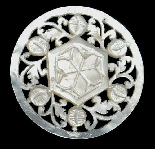 Antique Vtg Button Large Carved BETHLEHEM Pearl Shell NICE! #G3A