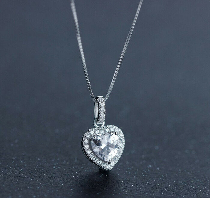 Jewellery - Heart Crystal Stone Pendant Necklace 925 Sterling Silver Chain Womens Jewellery