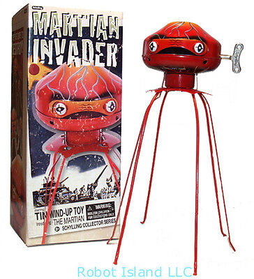 THE MARTIAN INVADER ROBOT TIN TOY WINDUP SCHYLLING LIMITED EDITION NEW