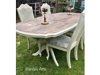 Shabby Chic Hand Painted table and 4 chairs