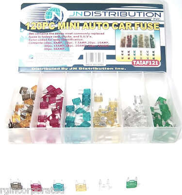 120 pc Mini Assorted Car Fuse Auto Cars & Trucks Fuses Replacement Color Coded