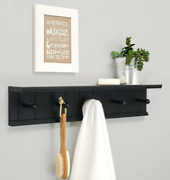 nexxt Kian Wall Shelf with 5 Pegs, 24-Inch by 5-Inch, Black