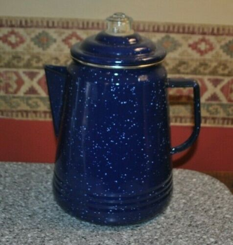 Vintage Cowboy Country Farmhouse Enamel Coffee Pot Blue Speckled Enamelware 10""