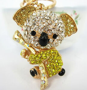 Koala-Yellow-Bear-Charm-Pendant-Cute-Crystal-Purse-Bag-Keyring-Key-Chain-Gift