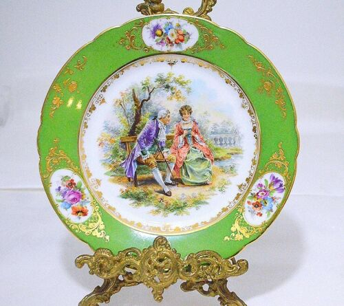 Heufel & Co. Dresden Helena Wolfsohn Signed Hand Painted Courting Couple Plate